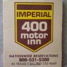Vintage Matchbook Imperial 400 Motor Inn Willcox Arizona Matches