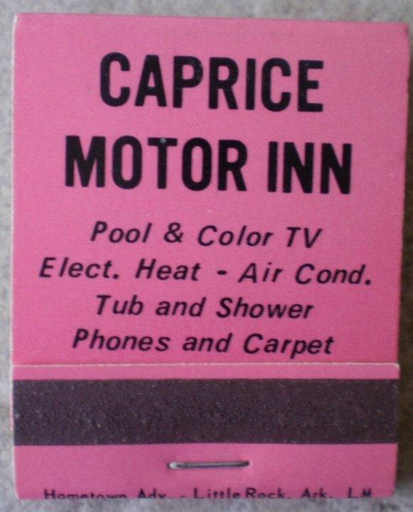 Vintage Matchbook Caprice Motor Inn Clarksville Arkansas Matches
