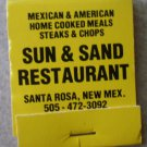 Vintage Matchbook Sun & Sand Restaurant Yellow Santa Rosa New Mexico Matches