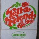 Vintage Matchbook Alpha Beta Grocery Tell A Friend Matches