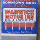 Vintage Matchbook Warwick Motor Inn St Louis Missouri Matches