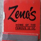 Vintage Matchbook Zeno's Steak House Motel Red Rolla Sullivan Missouri Matches