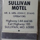 Vintage Matchbook Sullivan Motel Missouri Matches