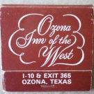 Vintage Matchbook Best Western Ozona Inn of the West Texas Matches
