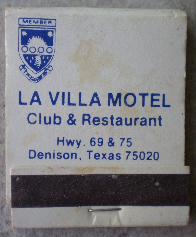 Vintage Matchbook La Villa Motel Club Restaurant Denison Texas Matches