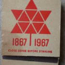 Vintage Matchbook 1867 - 1967 Orange Star Thank You Matches