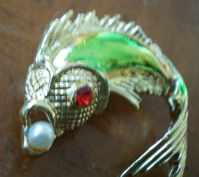Vintage Fish Brooch Pin Carp Goldtone Metal Red Rhinestone