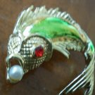 Vintage Fish Brooch Pin Carp Goldtone Metal Red Rhinestone Eye Faux Pearl