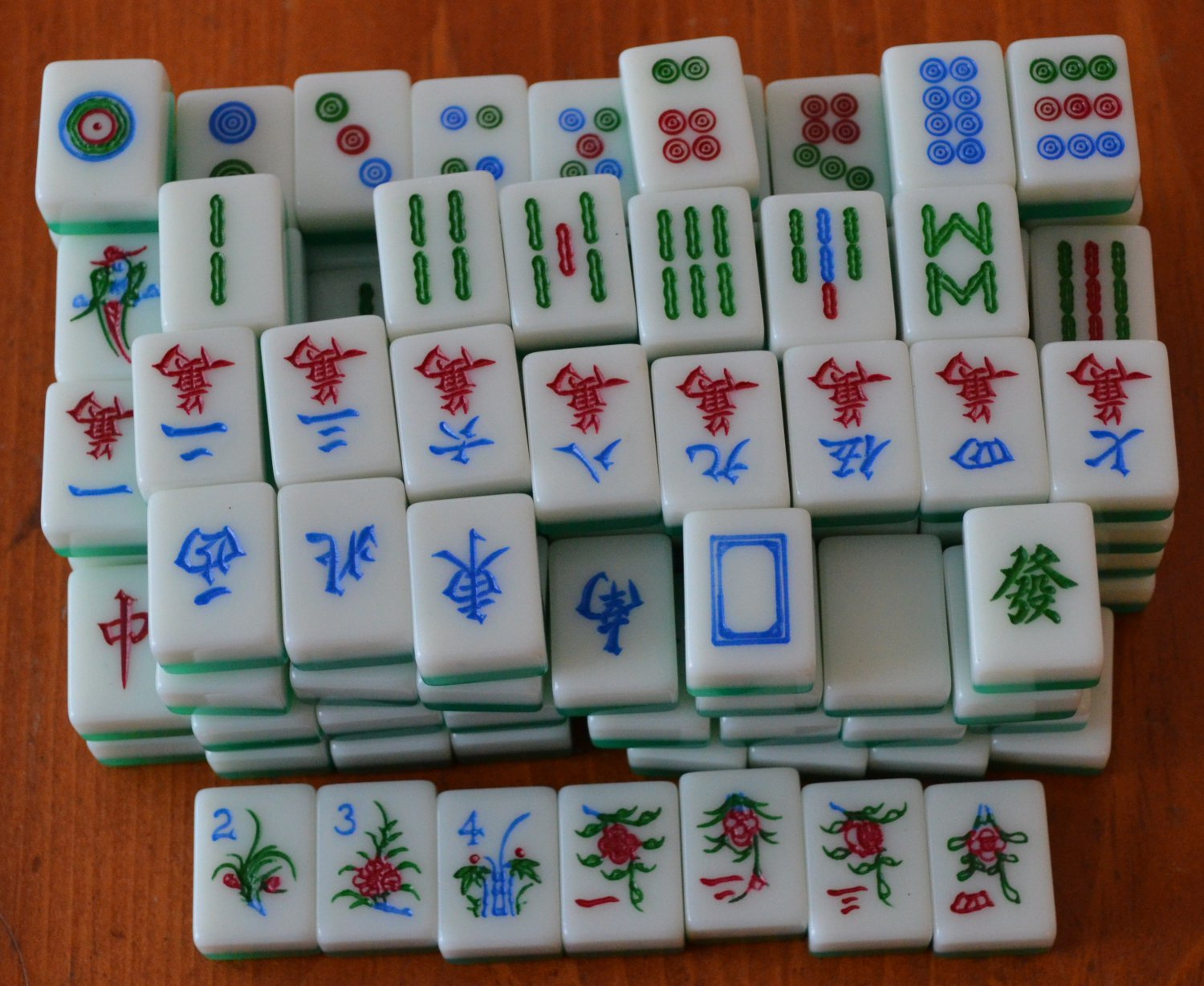 Lot Mah Jong Tiles Green White 133 Pieces Small 7/8in Crafts Arts