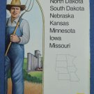 Close Up USA Map 4 Dakota Nebraska Kansas Minnesota Iowa Missouri National Geographic 1986