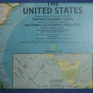 United States Map 1986 Fold-Out National Geographic USA 1:4,560,000