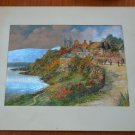 Country Town by the Sea Foil Print Vintage FJW W8929 England