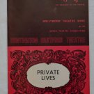 Playgoer Private Lives Huntington Hartford Theatre 1970 Hollywood Wing