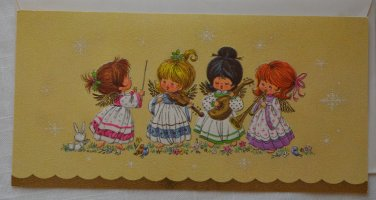 Vintage Coronation Collection Christmas Card Beige Angel Playing Instruments