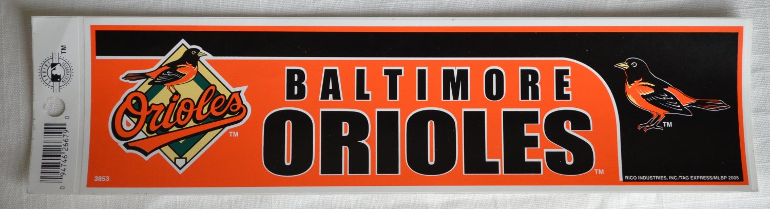 Baltimore Orioles Bumper Sticker SF Rico Industries MLB 2005 11x3