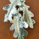 Oak Leaves Leaf Pin Brooch Silvertone Metal Vintage