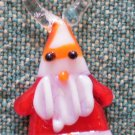 Vintage Glass Charm Hand Blown Santa Claus Christmas 7/8in