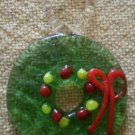 Vintage Glass Charm Hand Blown Wreath Christmas 7/8 in