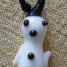 Vintage Glass Charm Hand Blown Snowman Christmas 3/4 in Black White
