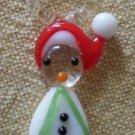 Vintage Glass Charm Hand Blown Snowman Christmas 7/8 in Hat White