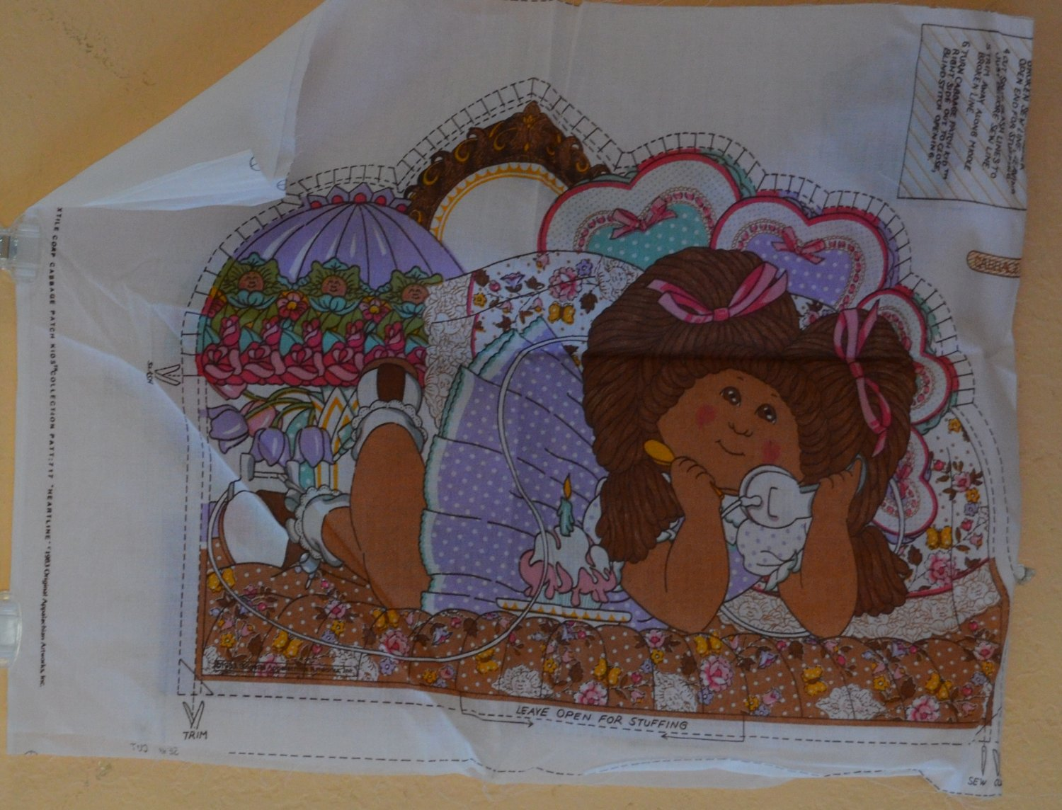 Cabbage Patch Kid Panel Fabric Pillow 1983 Heartline Appalachian Artworks