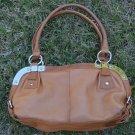 Makowsky Bag British Tan Leather Handbag Silvertone Metal Hardware Purse