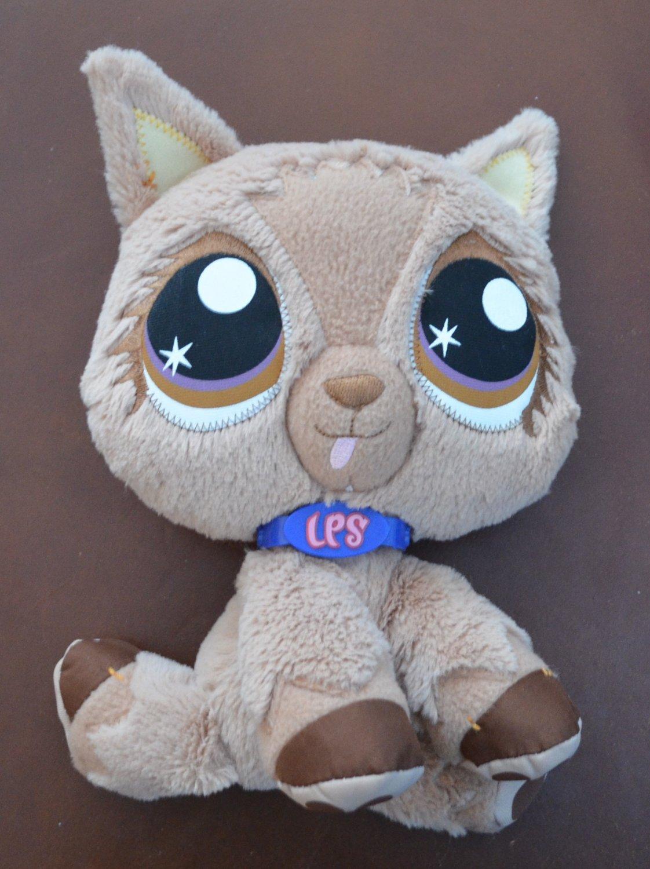 Littlest Pet Shop Plush Dog LPS 2007 Tan Puppy 9in VIP Hasbro Stuffed Animal