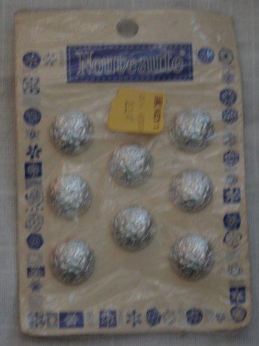 Nouveaute Buttons Silvertone Plastic Shelf Shank NOS Vintage 8/card Round 3/4in