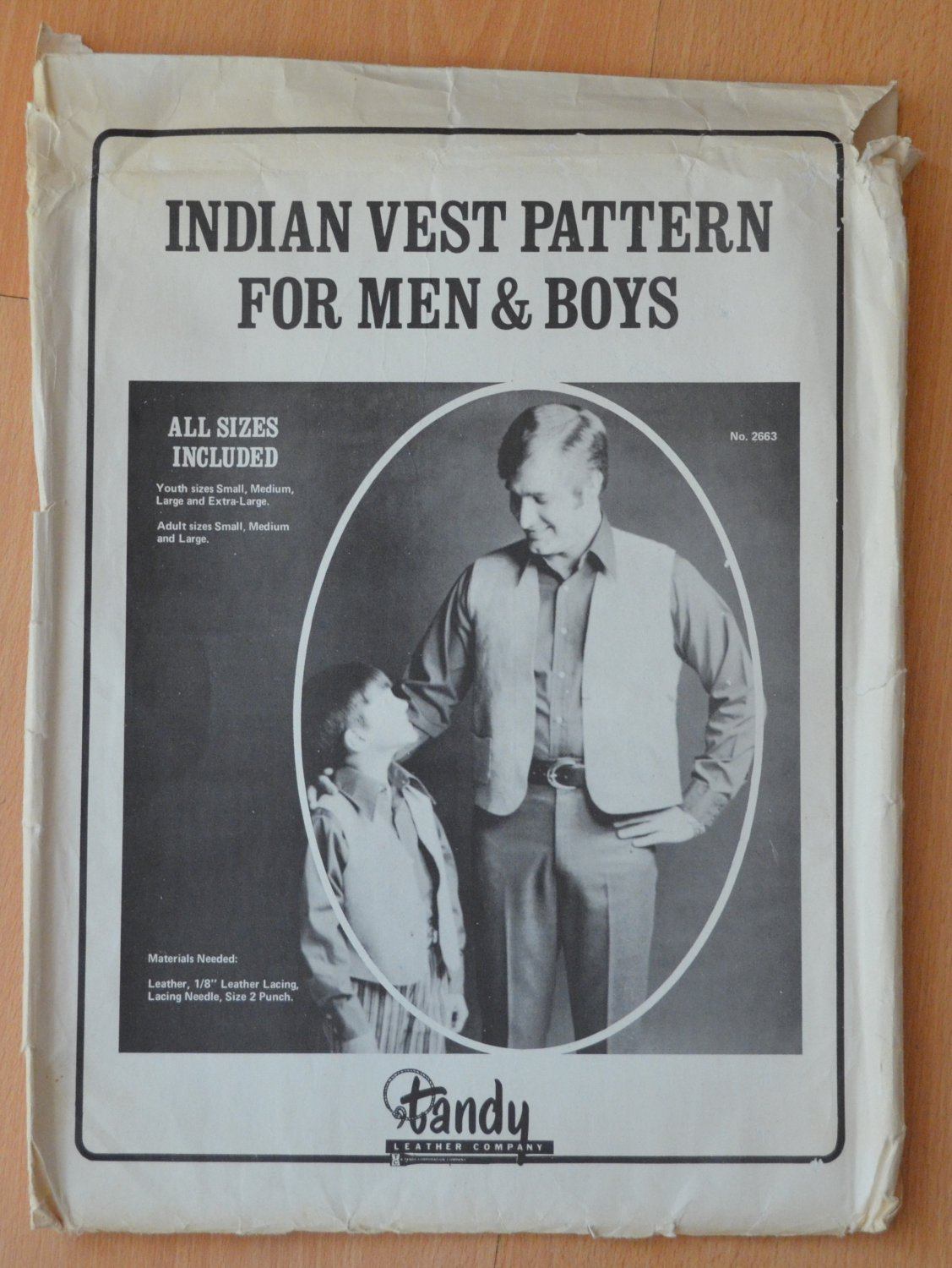 Tandy Leather Indian Vest Pattern Men Boys Vintage 2663 All Sizes