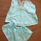 Vintage 2-piece Nightie Shirt Shorts 1980's Pajamas Light Blue Polyester Petite