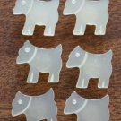 Vintage Buttons Dog Puppies Lot 6 Plastic Ivory Self Shank 5/8in Faux Pearl