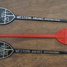 Vintage Swizzle Stick Western Airlines International Lot 3 Brown Red