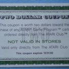 Vintage Atari Coupon Expired 1982 Two Dollars
