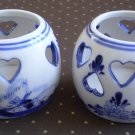Delft EH Votive Candleholder Lot 2 Kobenhavn Blue White Heart