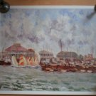 Harvey E Bowen Poster Print Seascape Sail Boats Ocean 25.75 x 31.5