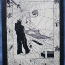 Man Ironing Vintage Spiderweb Mounted Print Spiders Flies
