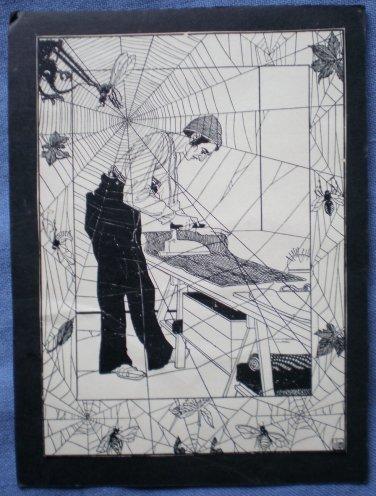 Man Ironing Vintage Spiderweb Mounted Print Spiders Flies