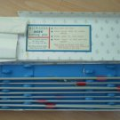 Milward Disc Knitting Needles Pins Set 7 pr Anodised Aluminum Keeps Box Vintage