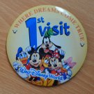 Walt Disney World Pin Button 1st Visit Where Dreams Come True