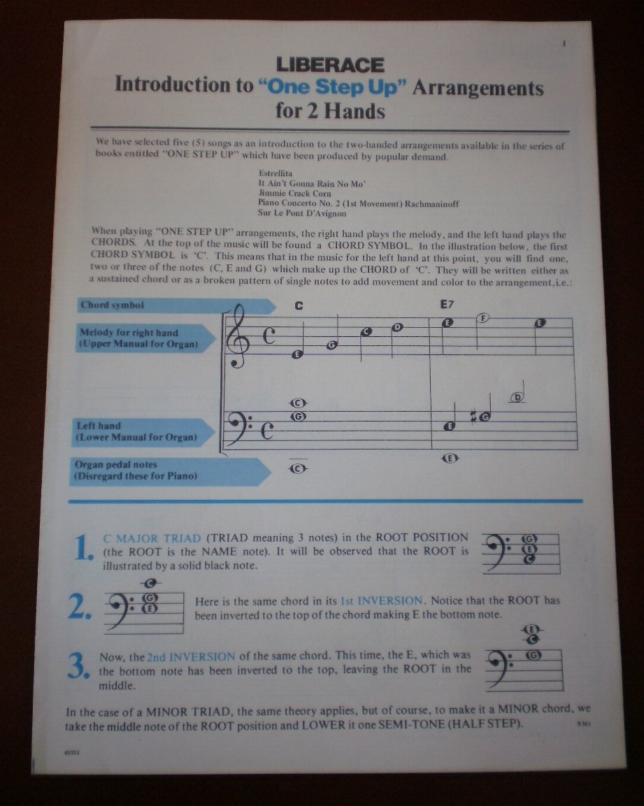 Liberace Introduction to One Step Up Arrangements for 2 Hands Sheet Music