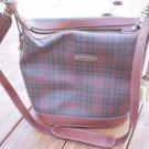 Ralph Lauren Brown Plaid Bag Polo Vintage Leather Trim Shoulder