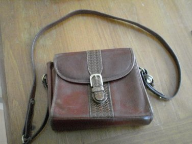 Brahmin Bag Vintage Brown Leather Weave Purse Authentic Woven Strap