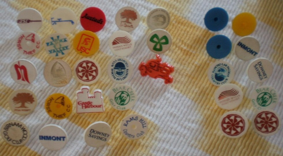Vintage Golf Ball Markers Lot PGA West Horse Thief USC Indian Wells Rams Hill
