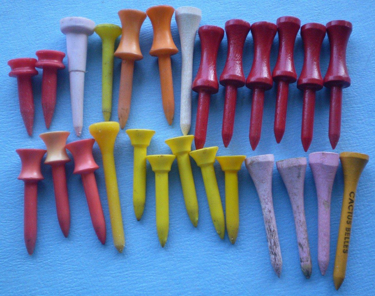 Vintage Golf Tees Plastic Wood Lot Various Sizes