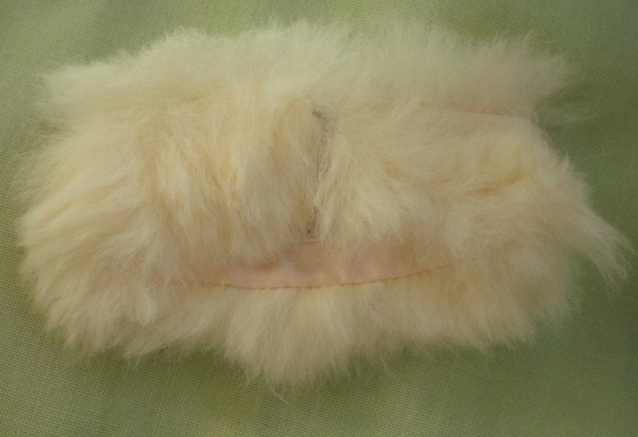Barbie Mattel Stole Faux Fur White Vintage Pink Satin-Lined