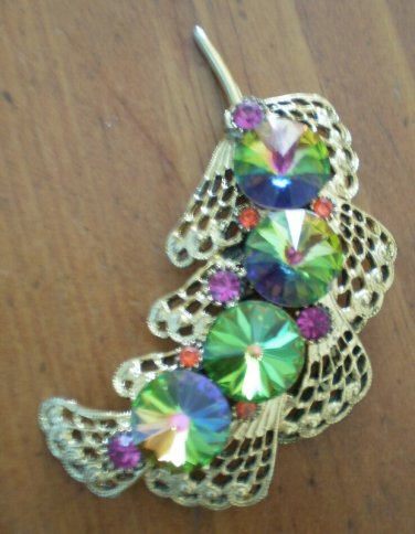 Vintage Brooch Pin Pink Green Rhinestones Color Changing 2.5 inch