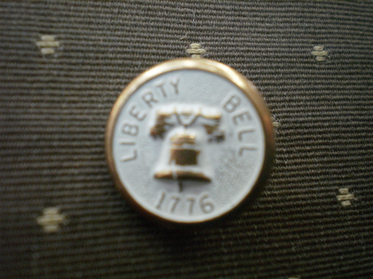 Liberty Bell 1776 Metal Button Self Shank Gold White 5/8in Lot 2