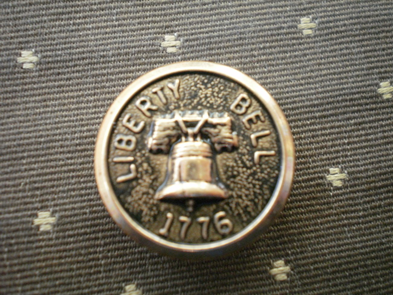 Liberty Bell 1776 Metal Button Self Shank Gold Black 6/8in Lot 2