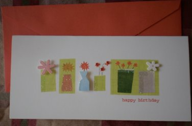 Greeting Card Happy Birthday Paper Magic Group Flower Vases 3D