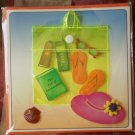 Greeting Card Blank Art of Relaxation Paper Magic Group Beach Bag Hat Sandals 3D